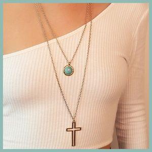 BOHO Layered Cross Necklace